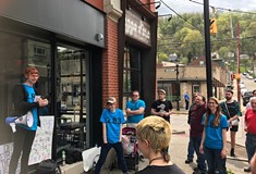 Protests at Tazza D'Oro after the Millvale coffee shop closed abruptly last week and fired all four employees