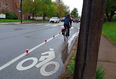 Advocates demonstrate vulnerability of cyclists in calling for parking-protected bike lanes in Pittsburgh