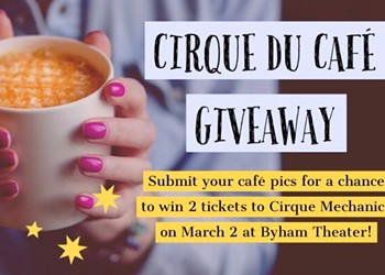 Giveaway: Submit a Café Photo for a Chance To Win Two Tickets to Cirque Mechanics!