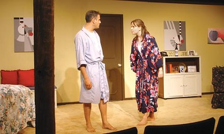 Unsaved by the bell: Ricardo Vila-Roger (left) and Jennifer Luta spar in Ancient History, at Red Barn Theater