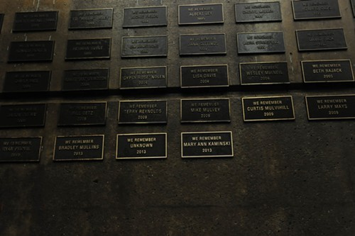 Wall of bronze plaques commemorating those who died while homeless - PHOTO BY CHUCK AUSTIN, COURTESY OF OPERATION SAFETY NET AND PITTSBURGH MERCY HEALTH SYSTEM