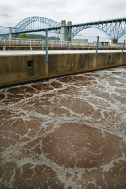 "Wastewater being ""cleaned"" by microorganisms - PHOTO: HEATHER MULL"