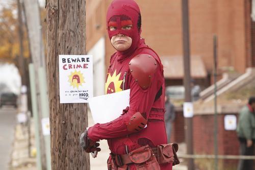 We can be heroes: Rainn Wilson as The Crimson Bolt