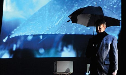 Weathering the storm: David Cabot in Point Park Rep's The Umbrella Man. - COURTESY OF DREW YENCHAK