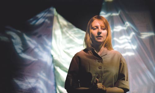 Welcome to the machine: Lacy Cunningham stars in Duquesne Red Masquers' Plateau. - COURTESY OF NICHOLAS J. BERTOVICH
