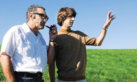 """We'll put the muddy, naked people here"": Max Yasgur (Eugene Levy) and Elliot Teichberg (Demetri Martin)"