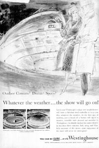 Westinghouse boasts of powering the arena's roof, 1961