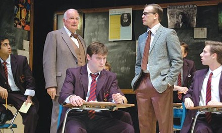 What's past is prologue: (from left) Arya Shahi, Bernard Cuffling (standing), Dave Droxler, Sam Redford (standing), Ethan Saks and John Wascavage in PICT's The History Boys. - PHOTO COURTESY OF GIANNI DOWNS.
