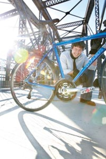 Wheel man: Stephen Patchan, on the bike-and-pedestrian lane of the Hot Metal Bridge - HEATHER MULL