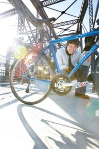 Wheel man: Stephen Patchan, on the bike-and-pedestrian lane of the Hot Metal Bridge - HEATHER MULL
