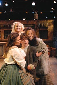 When Irish guys are smiling (from left): Rebecca Berkman-Rivera, Amanda Jane Cooper and Laura Lee Mixon welcome Jerzy Gwiazdowski, playing the title character in PICT's The Playboy of the Western World. - PHOTO COURTESY OF SUELLEN FITZSIMMONS.