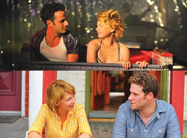 Who to choose? Luke Kirby and Michelle Williams (top); Williams and Seth Rogen (bottom)