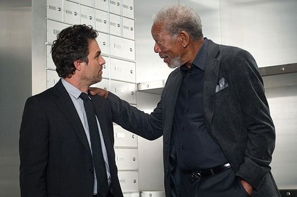 Who's zooming who? Mark Ruffalo and Morgan Freeman discuss a trick.