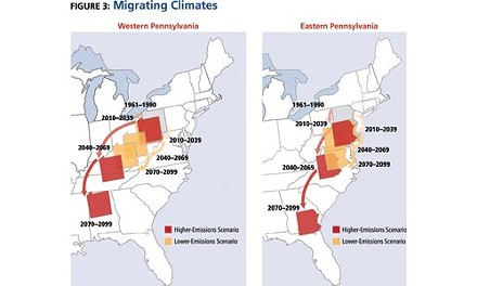 With continued high global greenhouse-gas emissions, by the late 21st century Western Pennsylvania's climate could resemble northern Alabama's. - SOURCE: CLIMATE CHANGE IN PENNSYLVANIA, BY THE UNION OF CONCERNED SCIENTISTS (OCTOBER 2008).