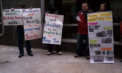 Working America protests at Sen. Bob Caseys office