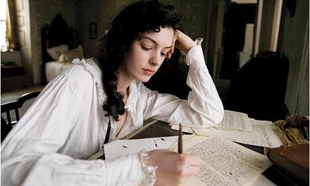 Write on: Jane Austen (Anne Hathaway) at work.