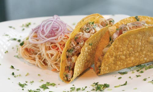 Yellow fin tuna tacos with Thai noodle salad