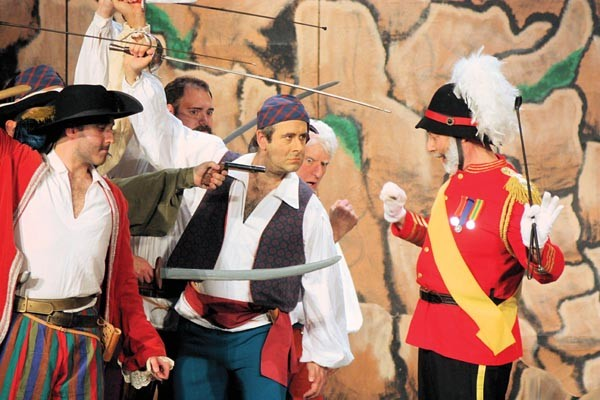 Zachary Luchetti (left), Michael Greenstein (center) and Leon Zionts (right) in Pittsburgh Savoyards' The Pirates of Penzance.