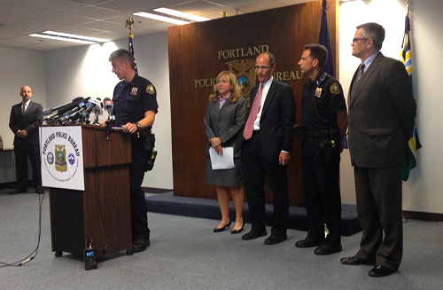 From left, police spokesman Lieutenant Robert King, US Attorney for Oregon Amanda Marshall, Assistant Attorney General Thomas Perez, Police Chief Mike Reese, and Mayor Sam Adams