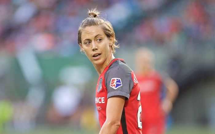 Meghan Klingenberg quietly challenging the ref on her distance from the ball on every single free kick.