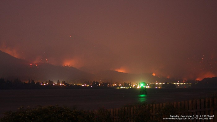 Fires burn unchecked in the Columbia River Gorge on Monday.