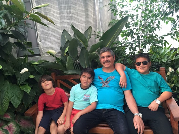 Luís Salazar-Campaña with sons Isaac, 8; Maximiliano, 9; and Alexander, 13.