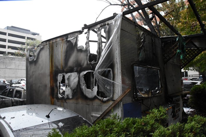 The Lai Thai food cart in SW Portland caught fire this afternoon.