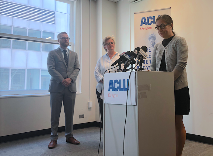 Michelle Fawcett speaks during an ACLU press conference Monday morning.
