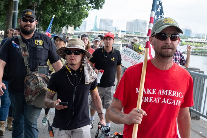 Proud Boys march in Tom McCall Waterfront Park on August 17.