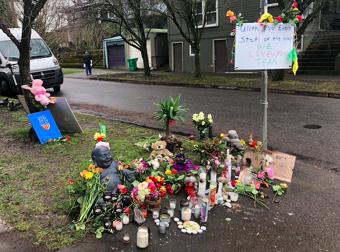 A memorial in Southeast Portland for Jean Gerich, the pedestrian killed in a hit-and-run Monday.