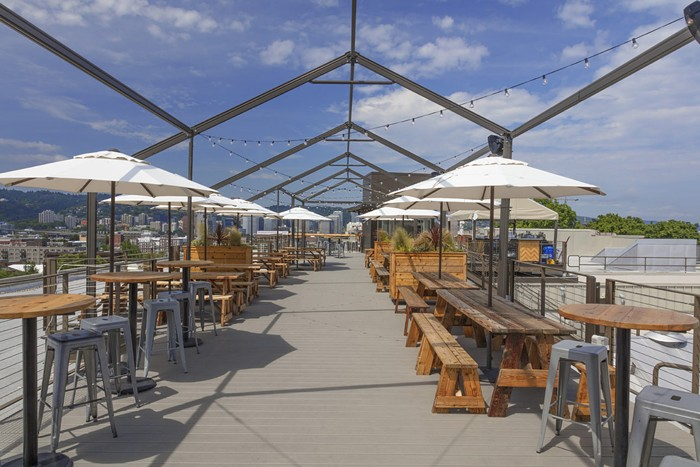 Admire the view from Revolution Halls spacious rooftop deck.