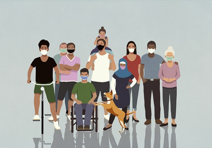 A diverse group of illustrated people stand in a group with masks on.