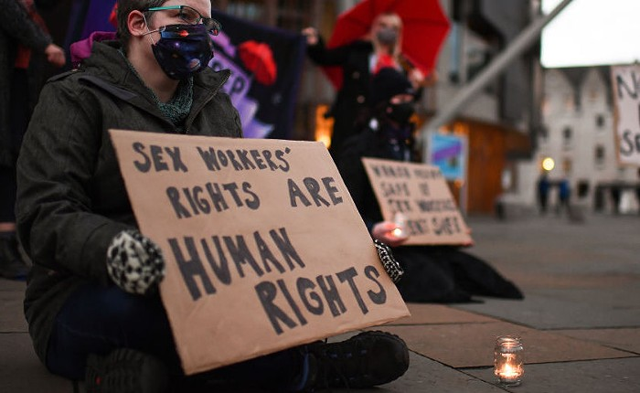 A rally for sex workers rights outside the Scottish Parliament in 2020.