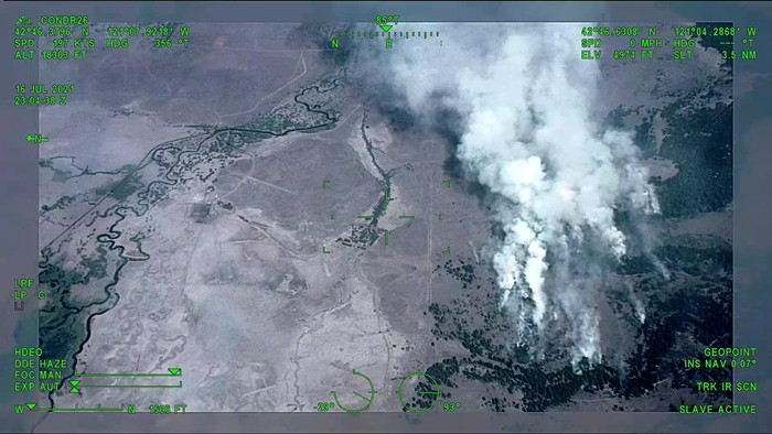 An aerial photo of the Bootleg Fire in Southern Oregon.