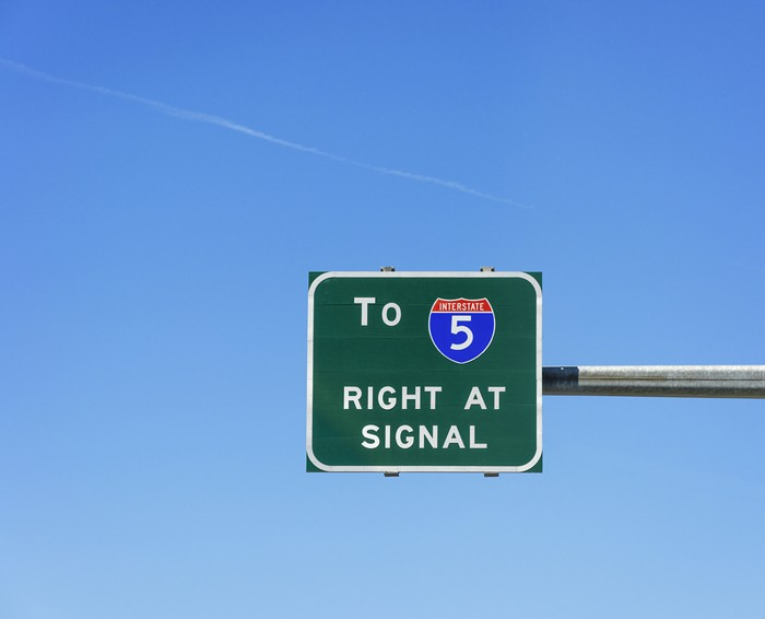 A sign for I-5 south