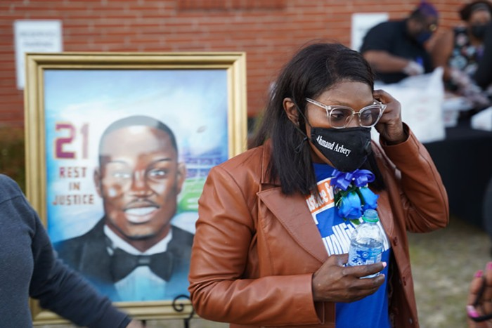 Wanda Cooper-Jones, mother of Ahmaud Arbery, at a vigil for her son in February 2021.