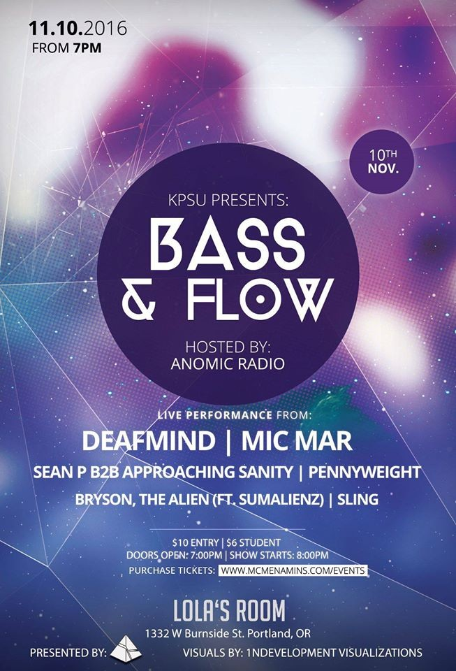 Bass & Flow at Lola\'s Room in Portland, OR on Thu., Nov. 10, 8 p.m. ...