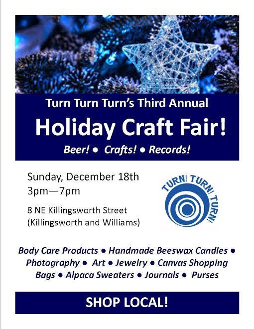 Holiday craft fair at turn turn turn in portland for Holiday craft fairs portland oregon
