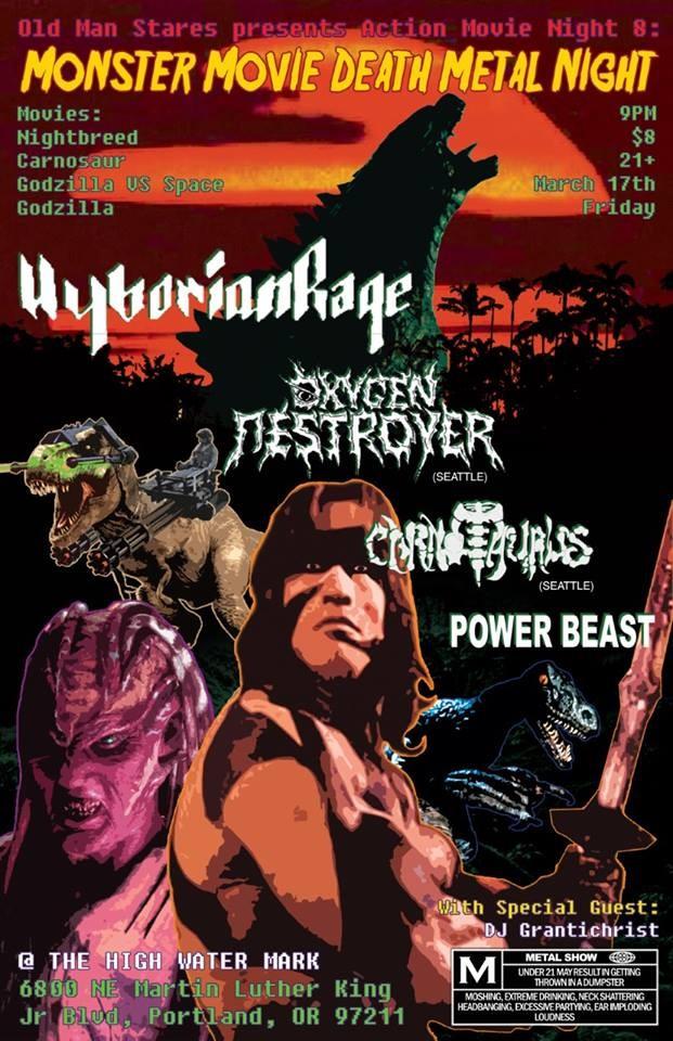 Hyborian Rage, Carnotaurus, Oxygen Destroyer, Power Beast, DJ Grantichrist