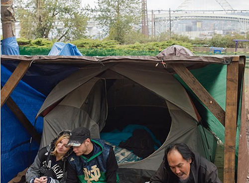 Residents of Hazelnut Grove in 2015. The camp has since grown into a collection of tiny homes.