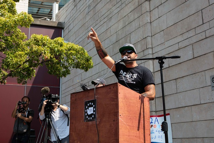 Joey Gibson speaking at a Patriot Prayer rally.
