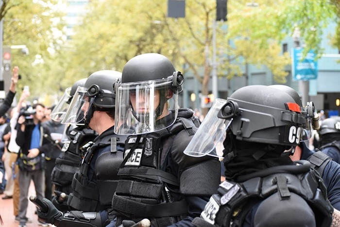 Portland police officers at a 2016 protest.