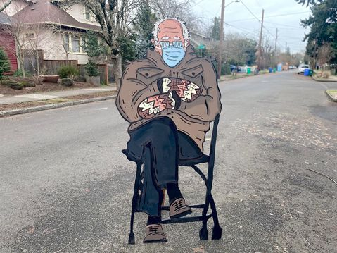 The internet is flooded with memes of Bernie Sanders waiting in line at the DMV at Bidens inauguration, but Portland artist Mike Bennetts handpainted cardboard cut-out version definitely takes the cake. Go see it in the Alberta Arts District while you can.