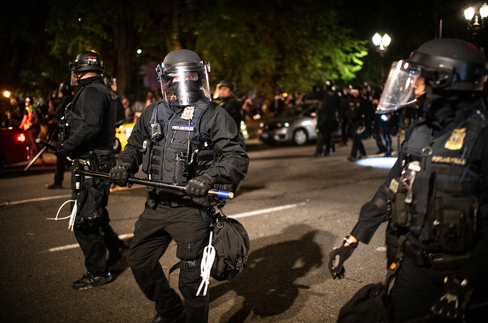 Portland police during a 2020 protest in downtown Portland.