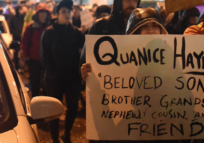 A sign from a rally following Quanice Hayes February 2017 death.
