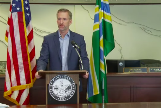 Mayor Wheeler speaking at a 2020 press conference