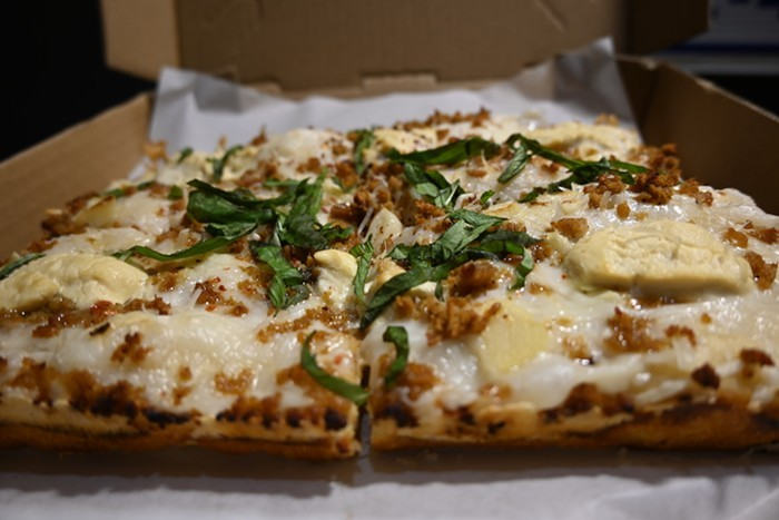 Okay, we do have pretty good pizza—like this Bianca pie from Boxcar.