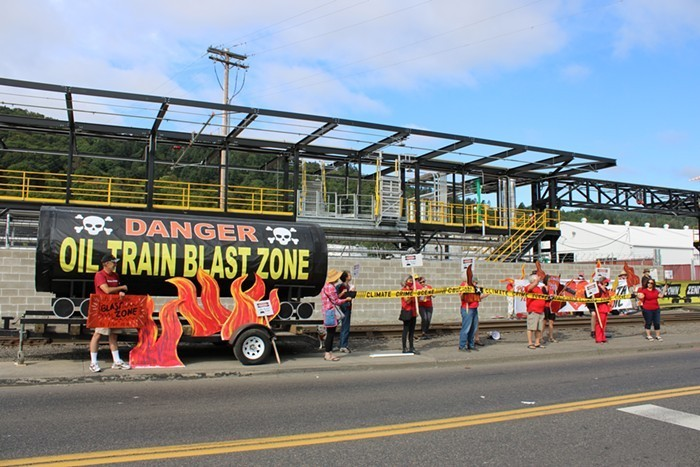 Activists protest the Zenith Energy terminal in NW Portland.