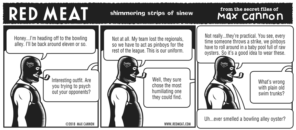 shimmering strips of sinew