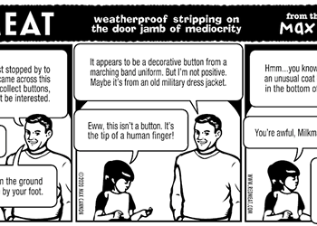 weatherproof stripping on the door jamb of mediocrity